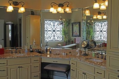 Master bath vanity with double sinks